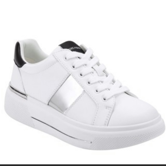 white faux leather flatform trainers